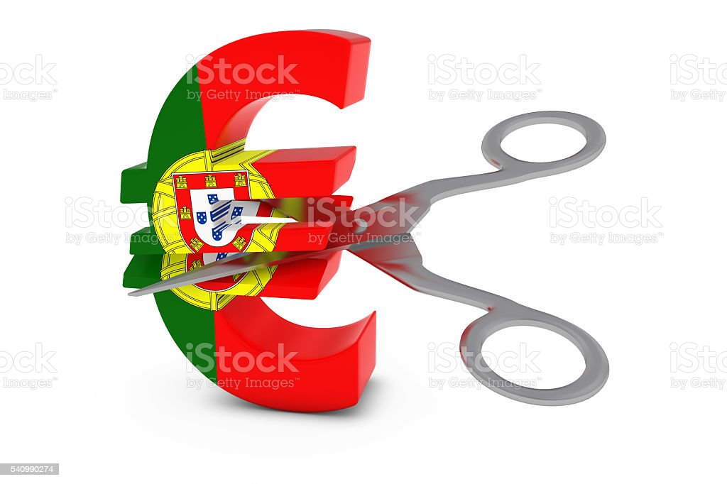 Portuguese Flag Euro Symbol Cut in Half with Scissors stock photo