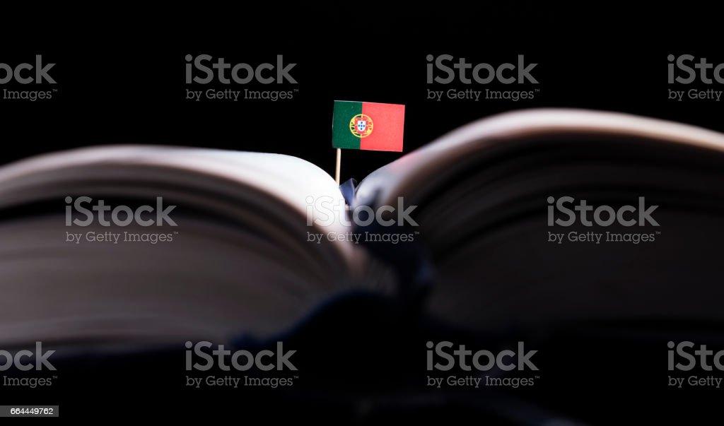 Bandeira portuguesa no meio do livro. Conceito de conhecimento e educação. - foto de acervo