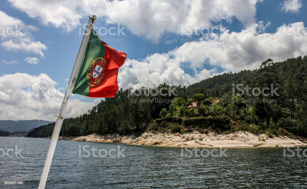 portuguese flag on a boat - fotografia de stock