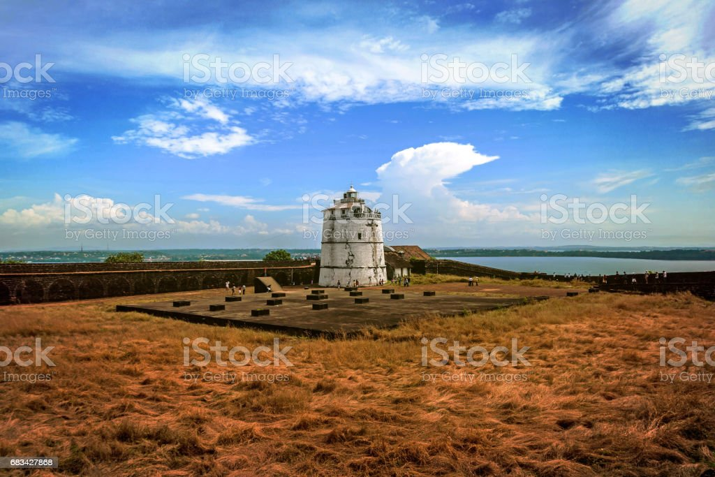Portuguese fort Aguada. Goa. Candolim. India. Ancient fort and lighthouse built in the 17th century stock photo