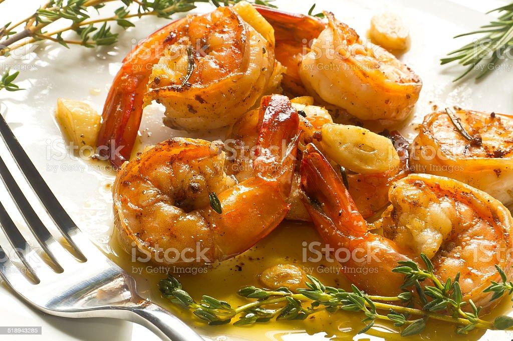 Portuguese Garlic Shrimp stock photo