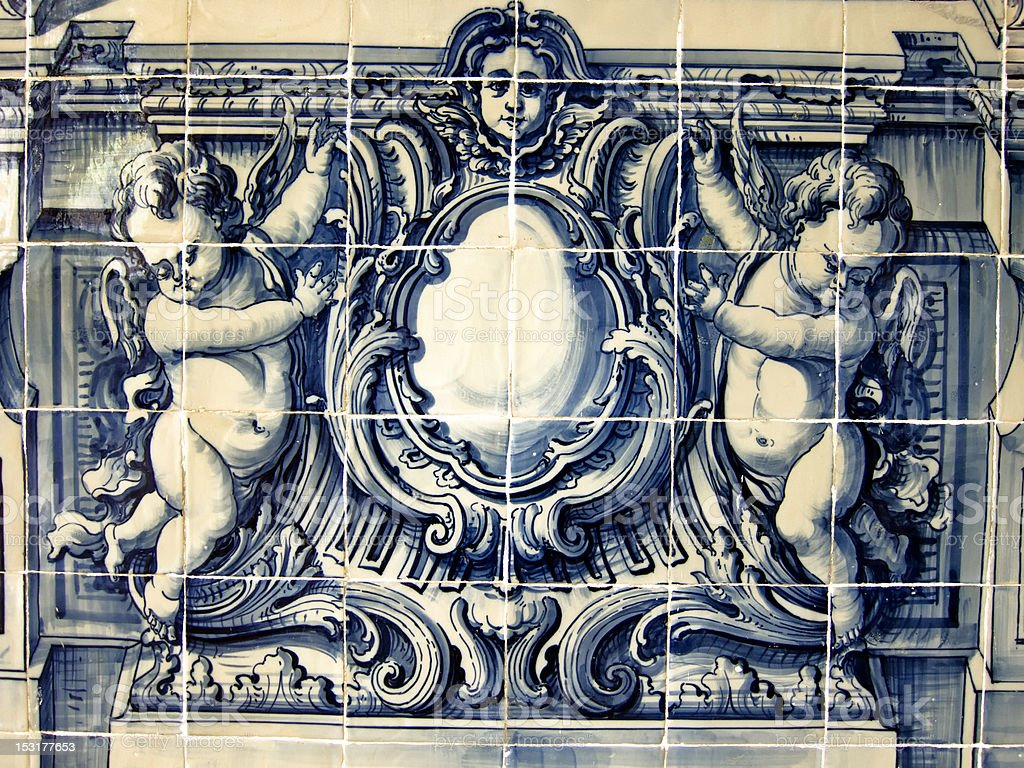 portuguese hand painted ceramic tiles royalty-free stock photo