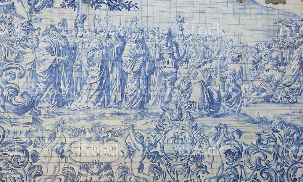 Portuguese historic scenics in tiles stock photo