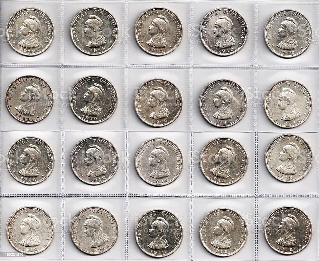Portuguese Indian Uma Rupia Silver Coins stock photo