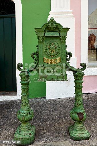 Portuguese mailbox in Pelourinho in the historic Center of Salvador, Bahia, Brazil