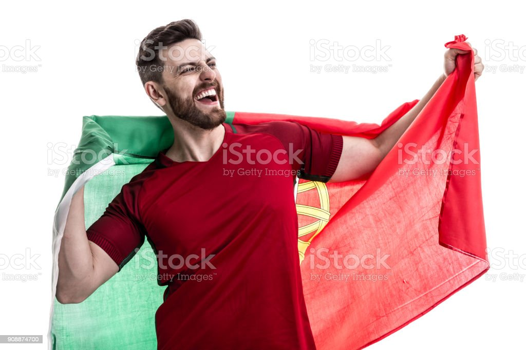 Portuguese male athlete / fan celebrating on white background - fotografia de stock