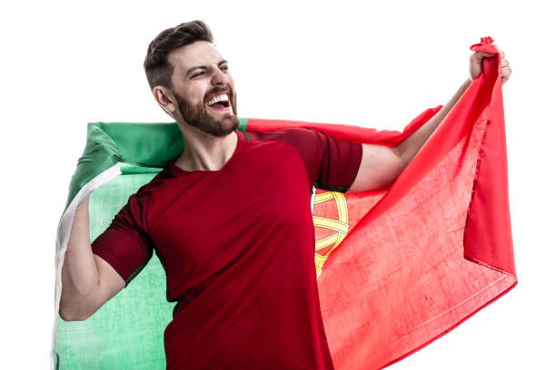portugisiska manliga idrottare / fläkt firar på vit bakgrund - football portugal flag bildbanksfoton och bilder