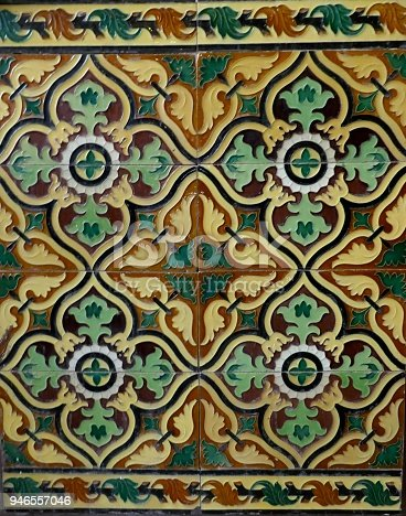 istock Portuguese old ceramic tiles, called Azulejo 946557046