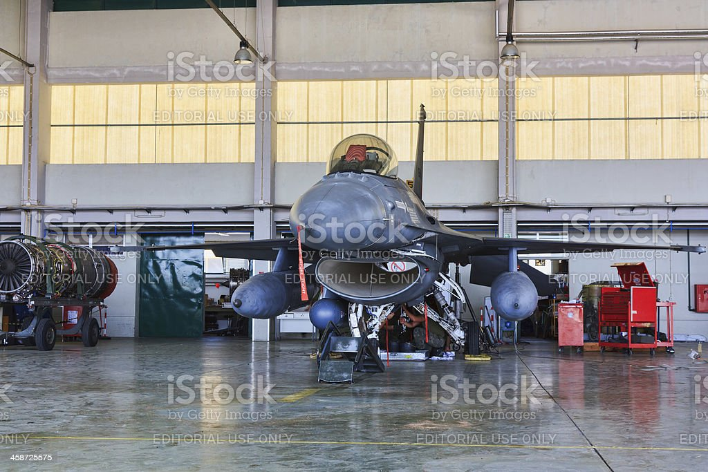 F-16 Portuguese on hangar for maintenance stock photo