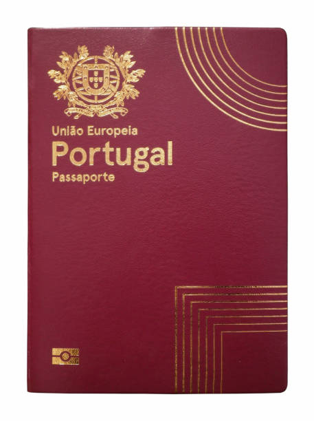 Portuguese passport isolated on a white background stock photo
