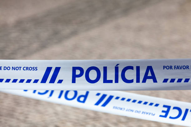 Portuguese police tape stock photo