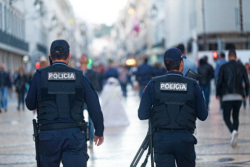 Portuguese Policemen In Lisbon Stock Photo - Download Image Now