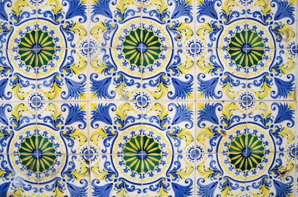 Portuguese Tiles in São Luiz do Maranhão Brazil stock photo