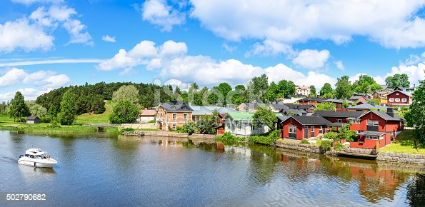 Panoramic view of Porvoo in summer time, Finland