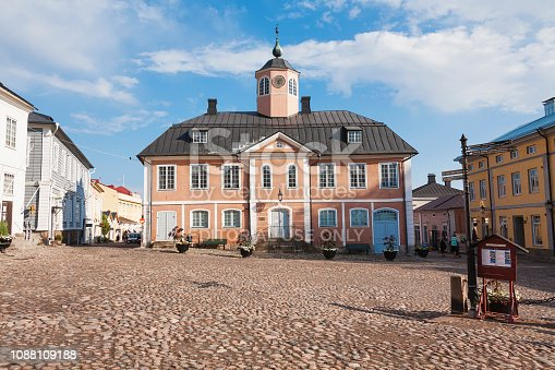 Porvoo, Finland - July 29, 2014: Beatiful old town Porvoo (Borga),  Town Hall square