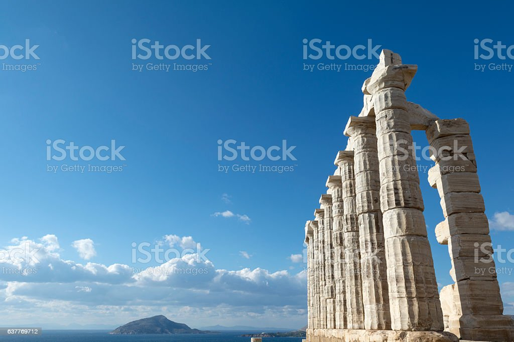 Poseidon temple at cape sounio. stock photo