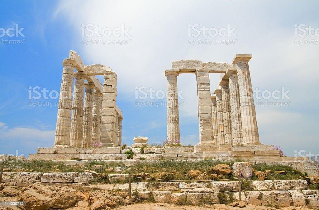 Poseidon Temple - front stock photo