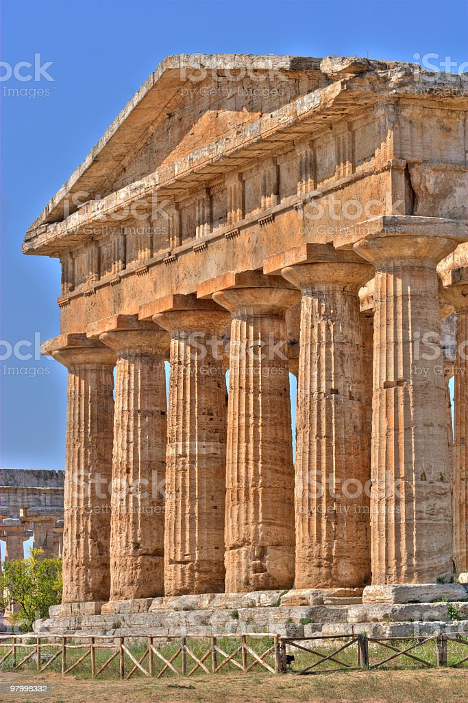 Poseidon temple (Paestum, Italy) HDR royalty-free stock photo