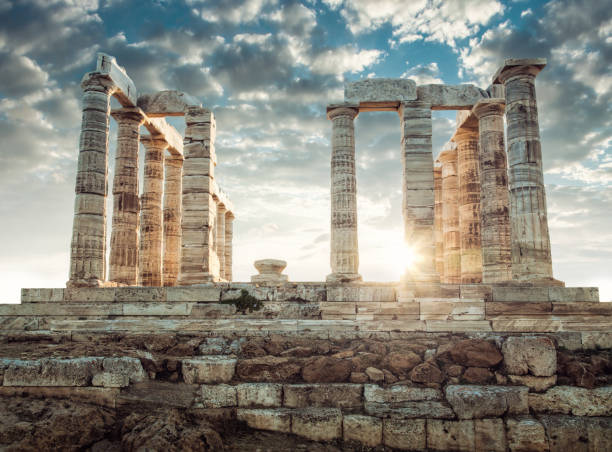 Poseidon Temple in Greece Poseidon Temple in Greece antediluvian stock pictures, royalty-free photos & images