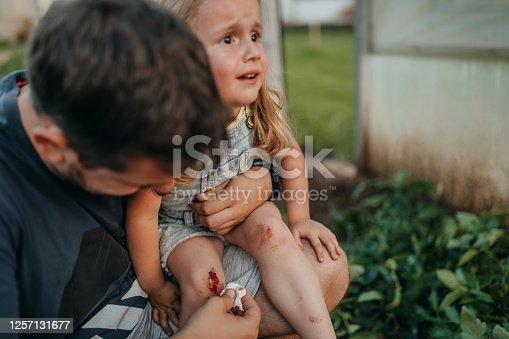 Girl having physical injury