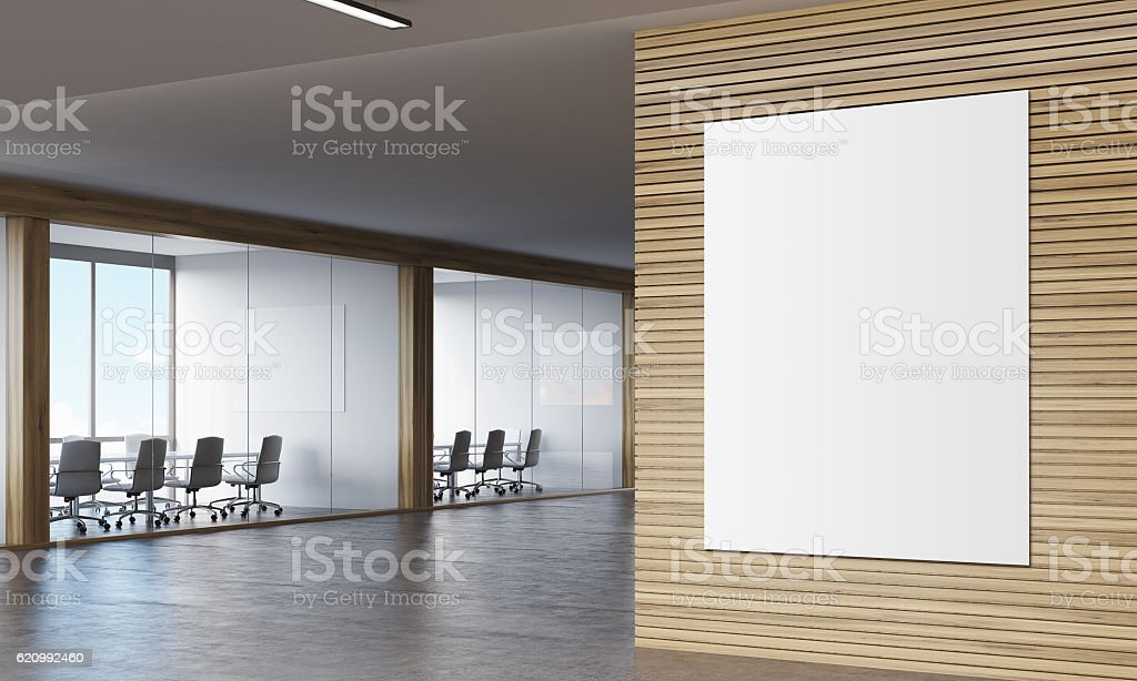 Poser in wooden corridor of company stock photo