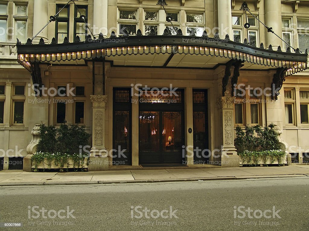 posh hotel front stock photo
