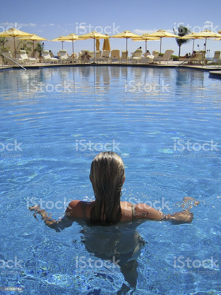 Posh hotel pool by the ocean. royalty-free stock photo