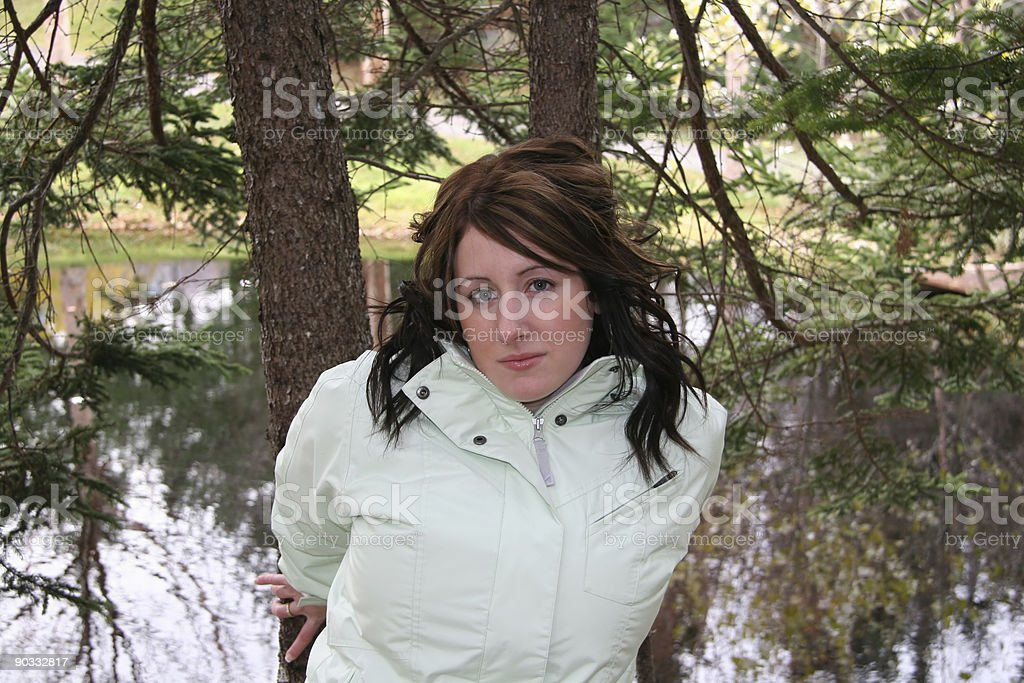 Posing Against Tree royalty-free stock photo