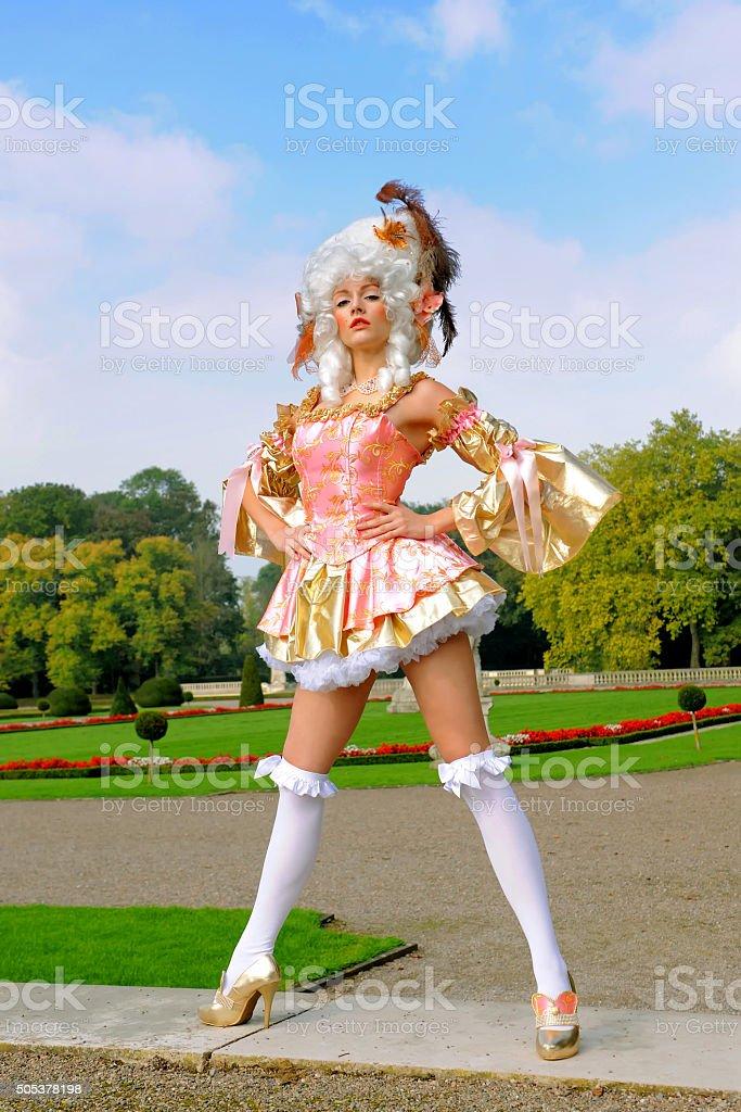 Posing Baroque Beauty five stock photo