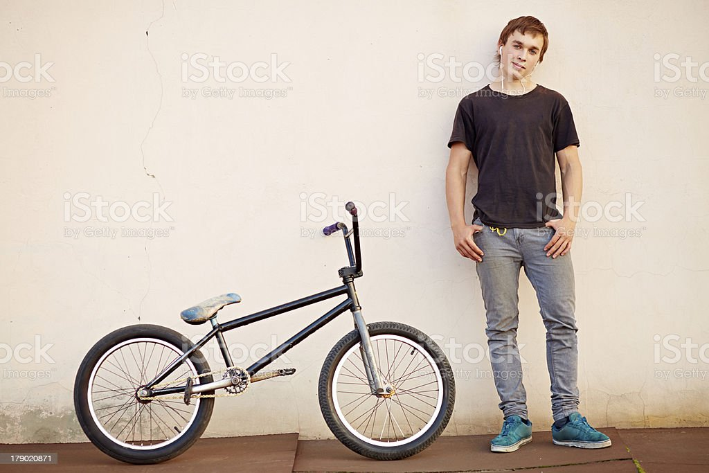 Posing cyclist stock photo