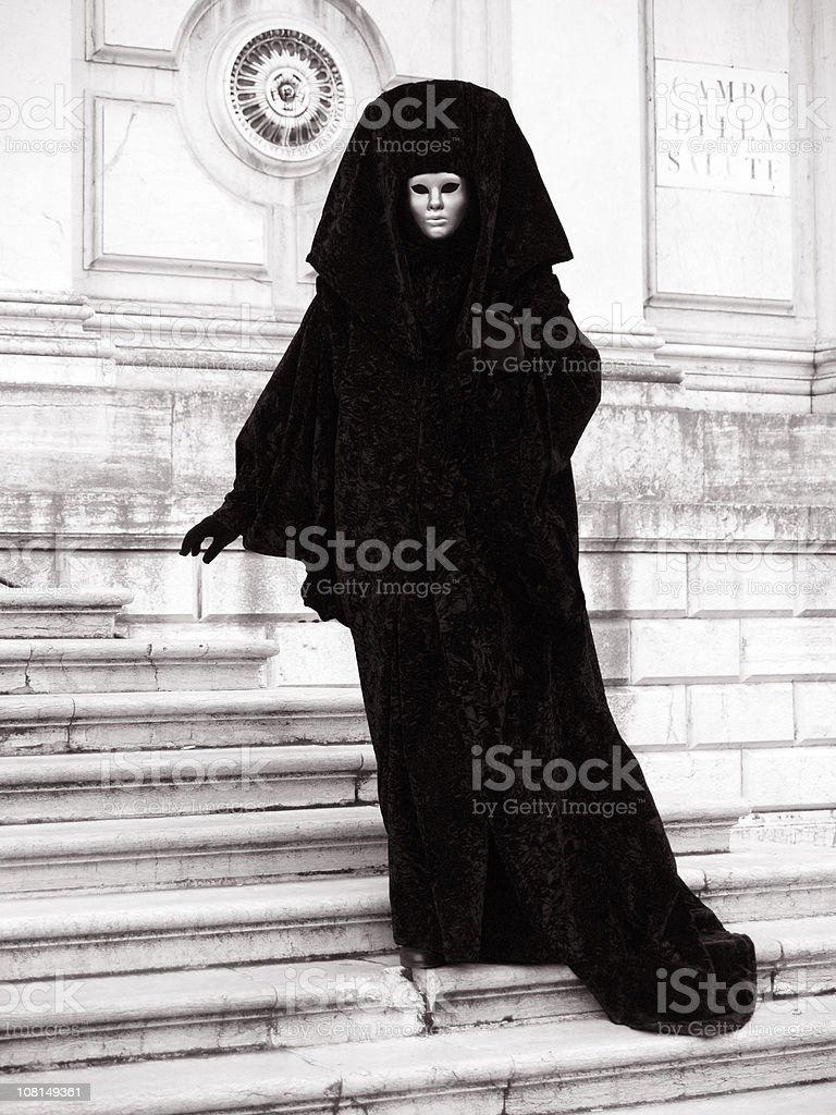 Posing in front of Church. Venetian Carnival. royalty-free stock photo