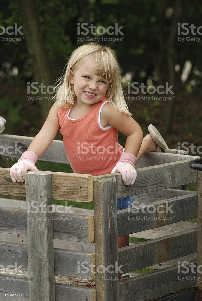 Posing in the Wooden trailer stock photo