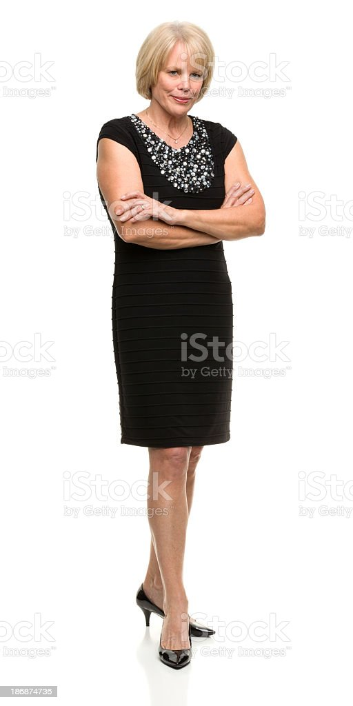 Posieren Ältere Frau voller Länge – Foto