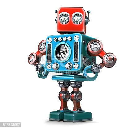 istock Posing Retro Robot. Isolated. Contains clipping path 817893562