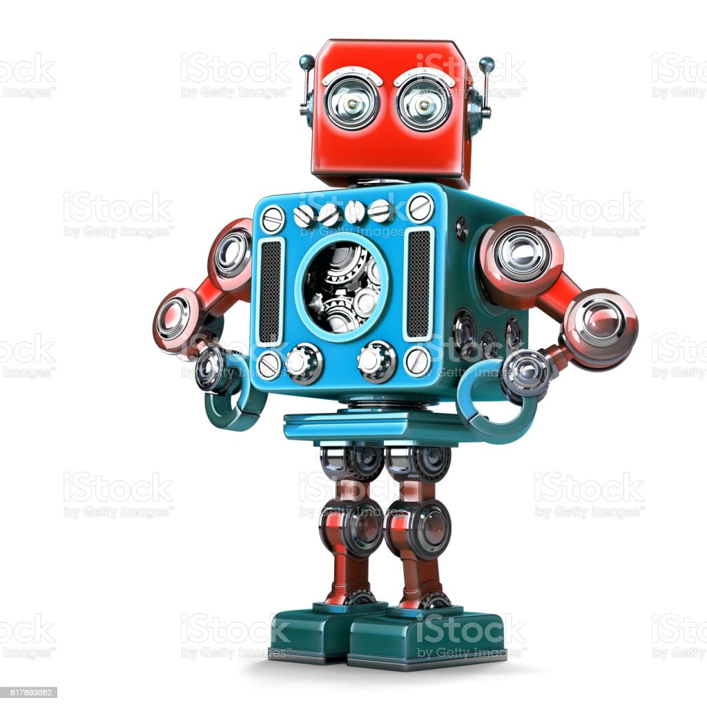 Posing Retro Robot. Isolated. Contains clipping path stock photo