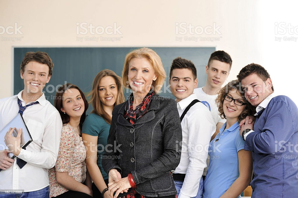 Posing students stock photo