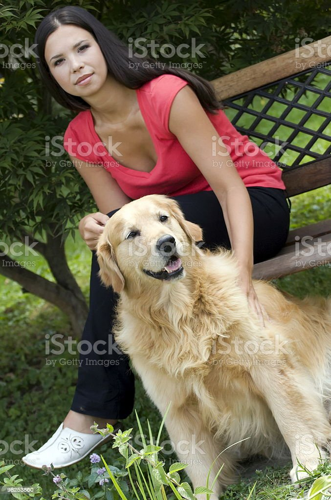 Posing with the dog royalty-free stock photo