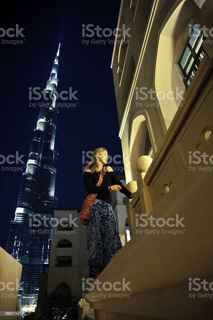 posing young lady in Dubai stock photo
