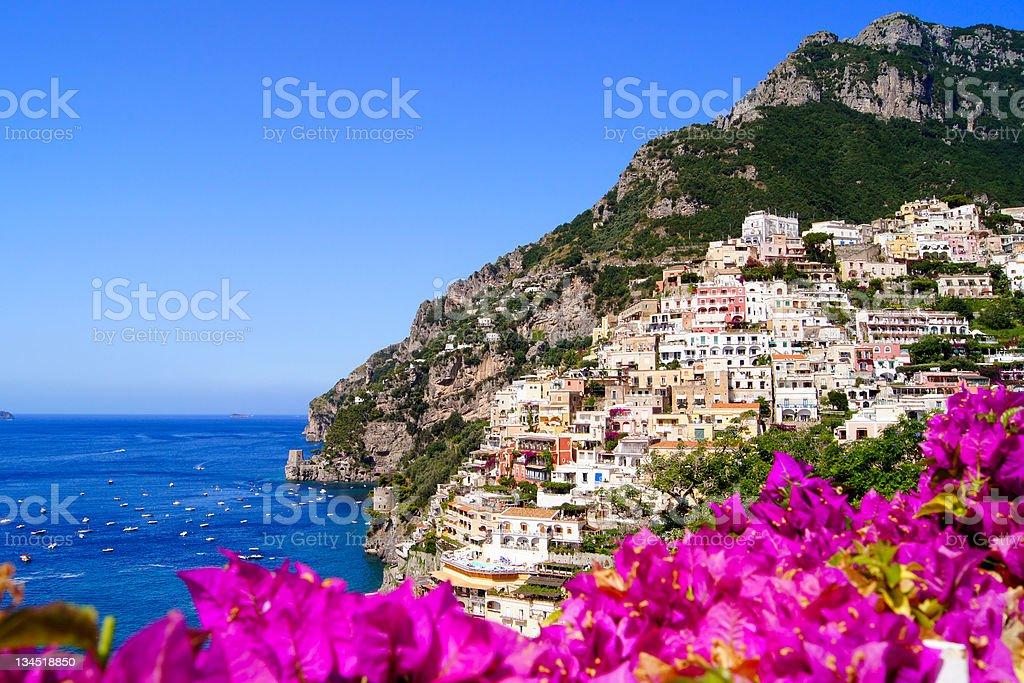 Positano, Amalfi Coast view with flowers stock photo