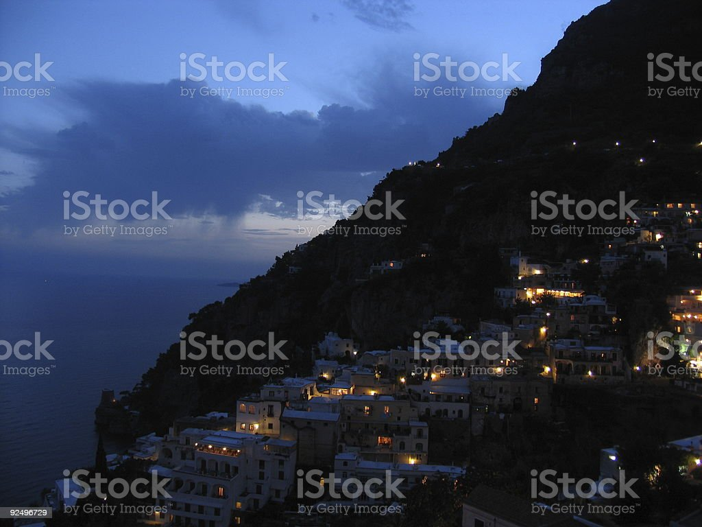 Positano at night royalty-free stock photo