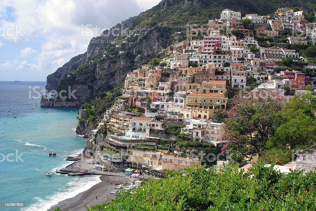 Positano at the Amalfi coast stock photo