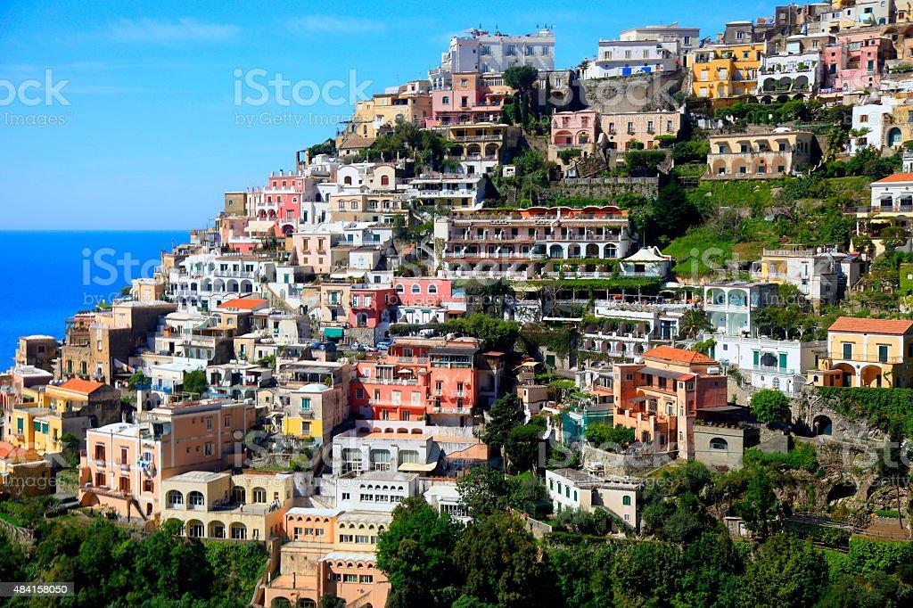 Positano city and turquoise Amalfi Coast - Italy stock photo