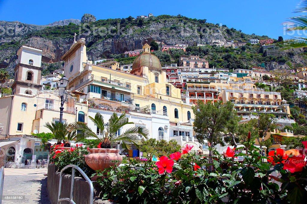 Positano city gardens, Amalfi Coast, Bay of Naples - Italy stock photo