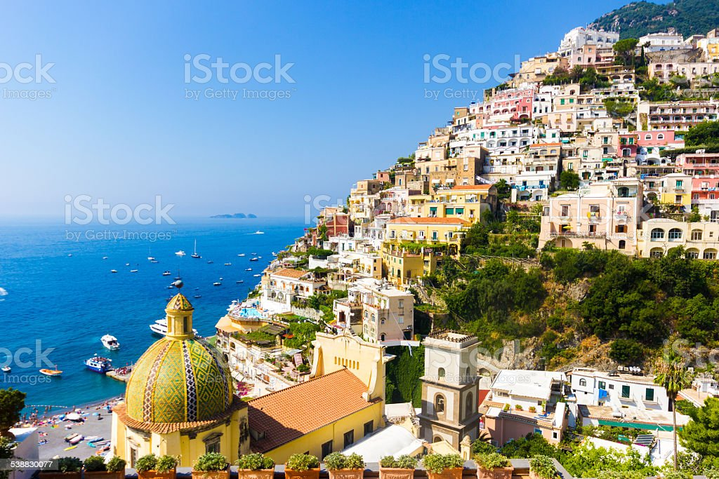 Positano, famous and beautiful town on the Amalfi Coast. Positano, famous and beautiful town on the Amalfi Coast, near Naples and Sorrento, Italy. 2015 Stock Photo