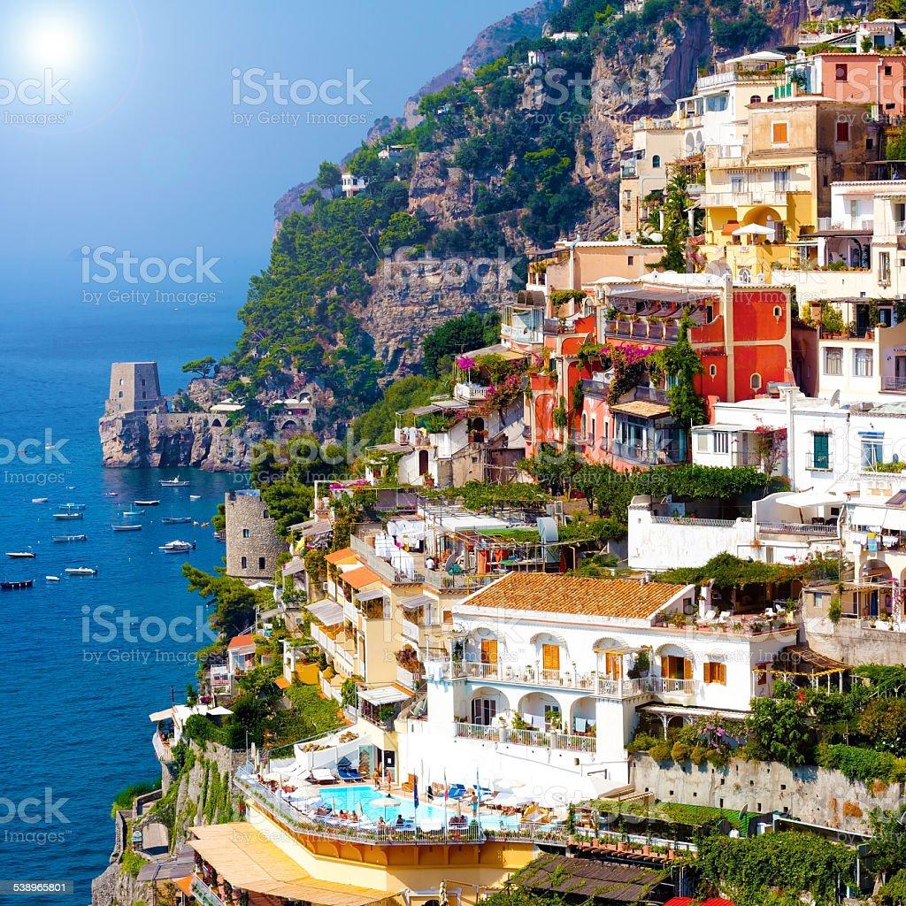 Positano, famous and beautiful town on the Amalfi Coast. stock photo
