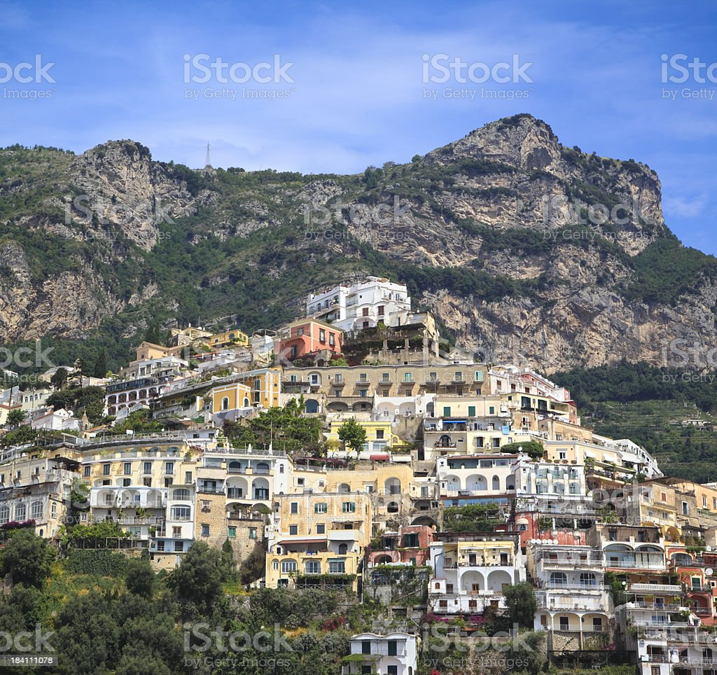 Positano homes and hotels, Amalfi Coast, Campania Italy royalty-free stock photo