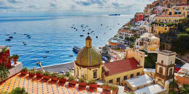 Positano, Mediterranean village on Amalfi Coast, Italy stock photo