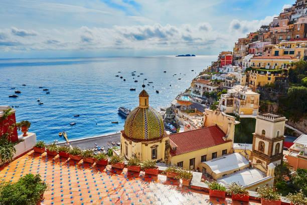 Positano, Mediterranean village on Amalfi Coast, Italy stock photo
