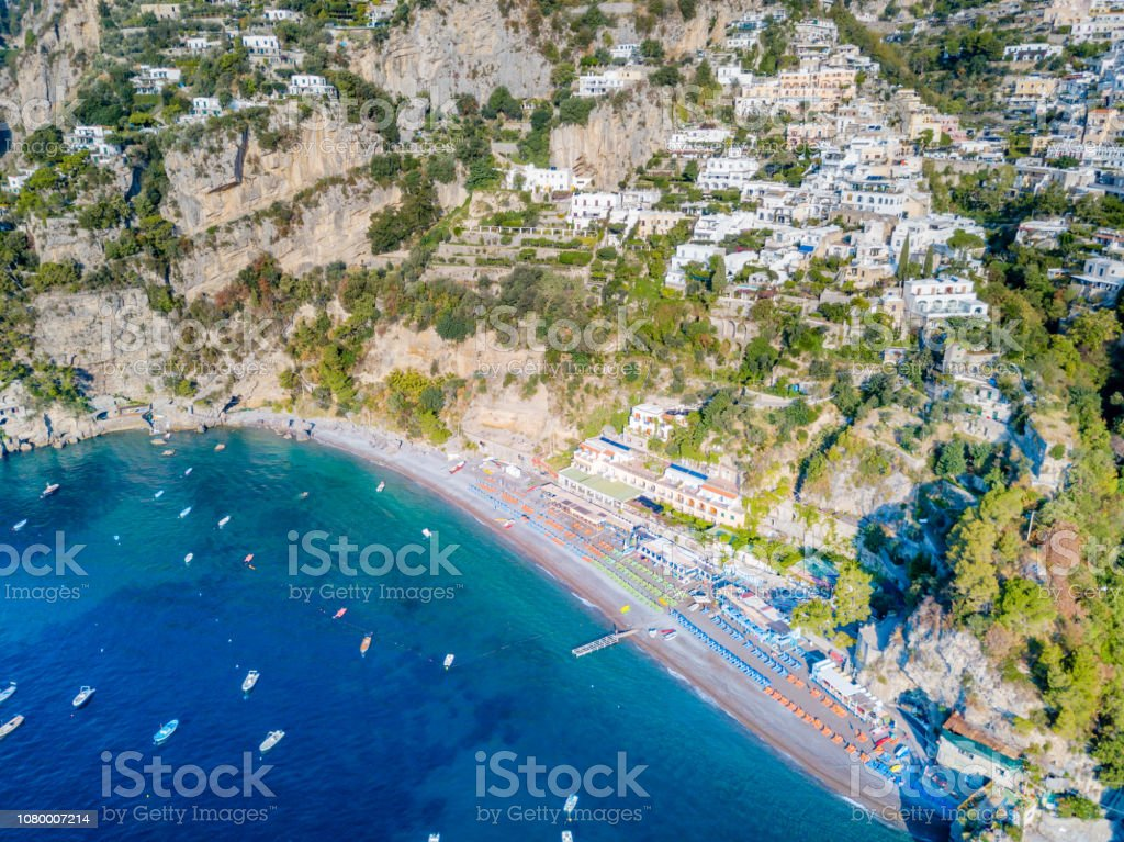 Positano On The Amalfi Coast In Italy From An Aerial View