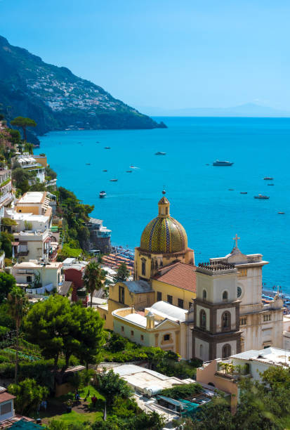 Positano (Campania, Italy) A very famous touristic summer town on the sea in southern Italy, province of Salerno, Amalfi Coast tuff stock pictures, royalty-free photos & images